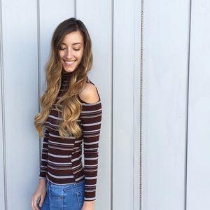 | new | striped turtleneck top