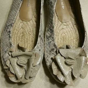 ❤SALE❤ Snakeskin leather espidrilles. Size 6