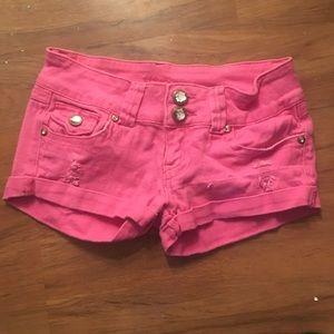 Pants - Pink shorts w/ rhinestone details. SZ 3/4