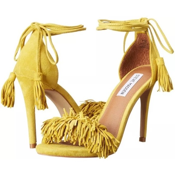 NEW Steve Madden Sassey Fringe Yellow Suede Heels