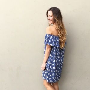 | new | chambray off the shoulder dress