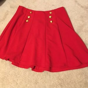 NEW red skirt with gold buttons