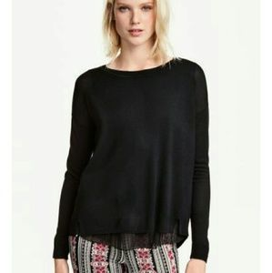 Gibson Sweaters - *Winter Sale* Black V-neck Sweater with Split Back