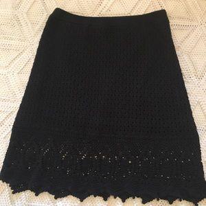Athleta  Black crocheted cotton skirt