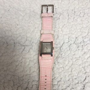 DKNY Pink Leather Band Rectangular Watch