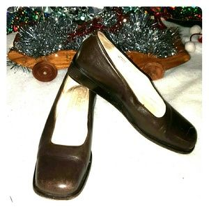 J CREW LEATHER BROWN WEDGES