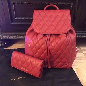 Red leather Vera Bradley backpack & wallet