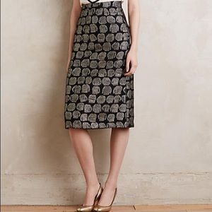 Anthropologie Dresses & Skirts - Anthropologie Gold Threaded Pencil Skirt