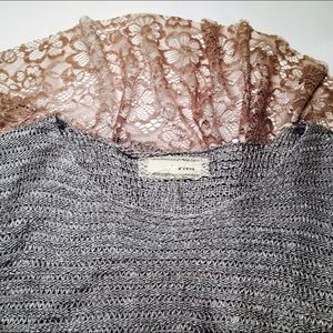 Anthropology lace back light top/ sweater
