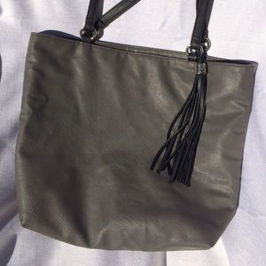 Gray and Black Style & Co. Hobo Purse w/tassel