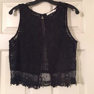 Lush Tops - Lush x Nasty Gal Flutter Back Lace Crop Top.