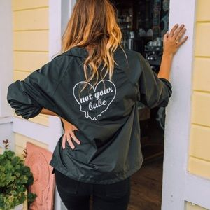 "Honey Punch Jackets & Blazers - LAST ONE! ""Not Your Babe"" Embroidered Windbreaker"