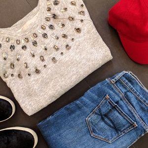 Ann Taylor LOFT Embellished Fair Isle Sweater Various Sizes NWT Whisper White
