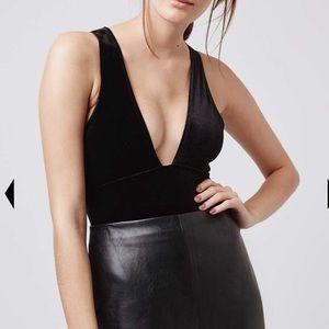 Topshop Velvet Plunge Bodysuit