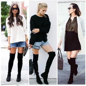 Shoes - BLK OTK flat suede drawstring boots