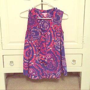 Lilly Pulitzer sleeveless blouse xs 100% silk
