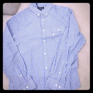 Men's Five Four blue and white button down shirt