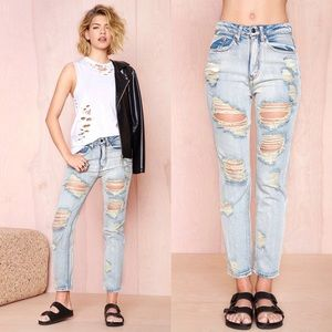Nasty Gal destroyed boyfriend jeans