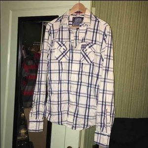 Superdry Blue & White Plaid Button Up