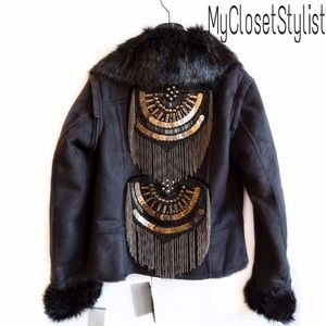Save The Queen Jackets & Blazers - 🆕NWT$$$ Beaded Shearling Jacket Coat Fur Vest!S/M