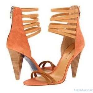 NWOT Rebecca Minkoff strapless suede MIRRA heels