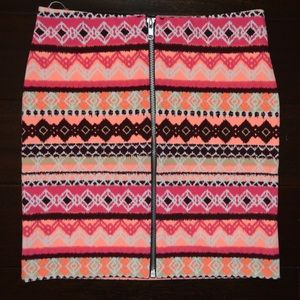 Tribal Print Body Con Skirt