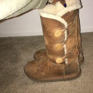 UGG Shoes - Brown chestnut button up tall ugg boots.