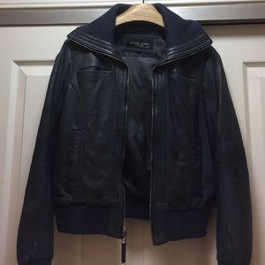 Black Rivet Jackets & Blazers - Leather Bomber Jacket