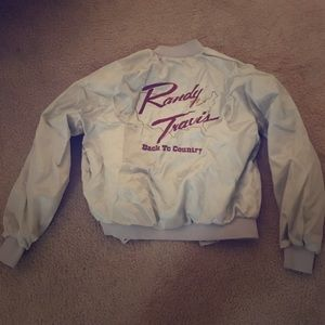 Vintage custom randy Travis mint bomber jacket