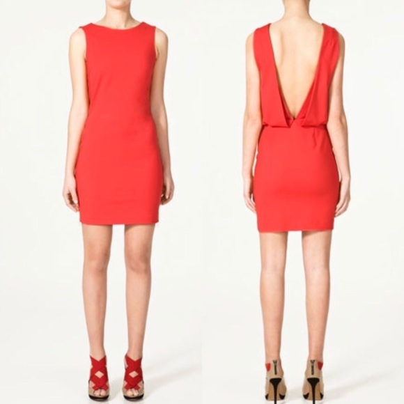 8f87095ffe NWT Zara red open back dress