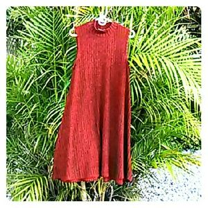 Red Mock Turtleneck A-Line Swing Dress