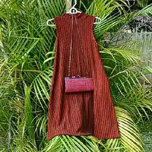 Allison Brittney  Dresses - Red Mock Turtleneck A-Line Swing Dress