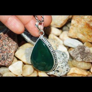 "Emerald Green Onyx Pendant 2"""