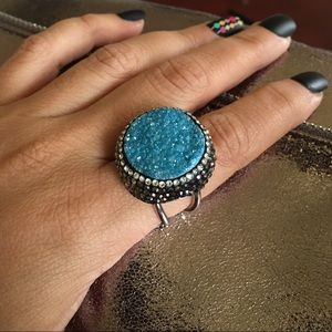 Jewelry - 🎀SALE🎀💝Cocktail Blue Drusy Ring💝