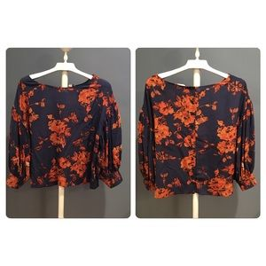 Anthro Odille Silk floral blouse