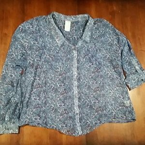 Free People Sheer Button Up Blouse