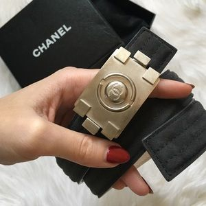 CHANEL Accessories - Authentic Chanel CC Nickeltone Brick Suede Belt
