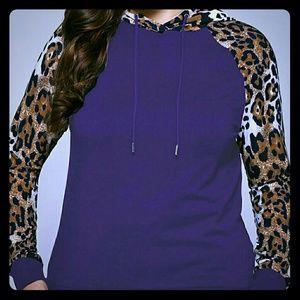 Tops - *1 LEFT *Cheetah & Solid Purple Trim Hoodie