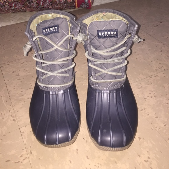 Navy Blue And Grey Sperry Duck Boots