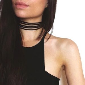 Jewelry - BLACK SUEDE LEATHER MULTILAYER CHOKER SILVER