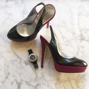 Shoedazzle Shoes - Trendy Black and Purple Pumps
