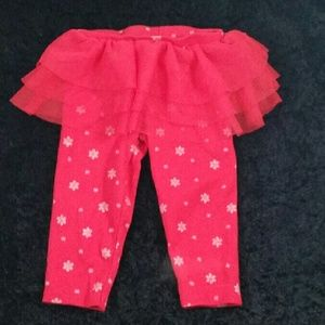 Baby Girl Red Silver Snowflake Tutu Leggings 9 MO