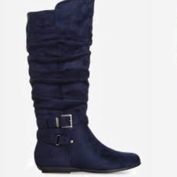 95% off Shoe Dazzle Shoes - Navy Blue Ruched Wide Calf Boots from ...