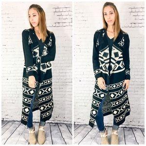 Sweaters - Aztec Open Duster Cardigan
