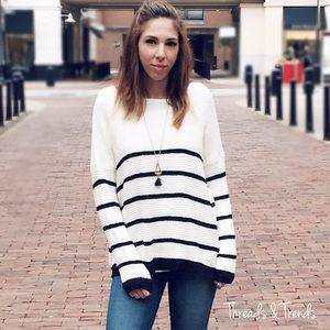 Sweaters - Black & White Striped Sweater