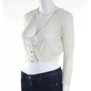 FREE PEOPLE CREAM KNIT LACE DETAILED SZ M