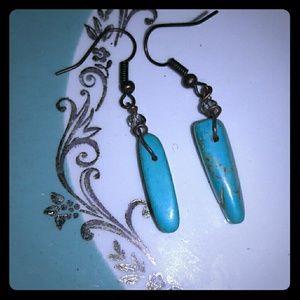 Original Retro Brand Jewelry - Blue howlite earrings crystal accent handmade