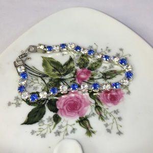Blue & Clear Swarovski Tennis Bracelet