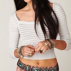 Free People Cropped V Neck Pullover Sweater