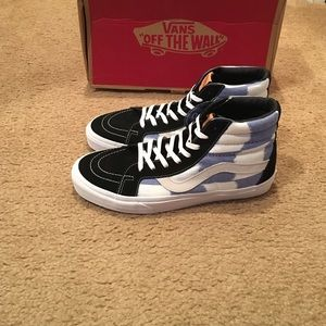 vans sk8 hi reissue ca glitch checkerboard black